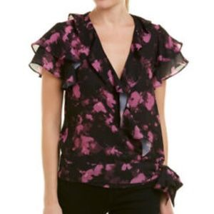 Parker Purple Ruffle Wrap Top .NWT!